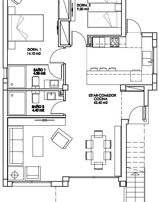 Plan 2 bed
